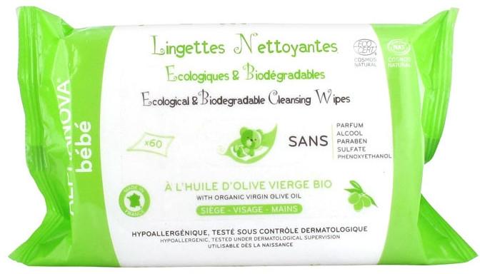 Ekologiczne biodegradowalne chusteczki nawilżane dla dzieci - Alphanova Bebe — фото N1