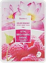 Kup Witalizująca maska rozjaśniająco-rozświetlająca na tkaninie do twarzy Kwiat lotosu i maliny - Deoproce Color Synergy Effect Sheet Mask Pink