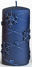 Kup Świeca dekoracyjna, niebieska 7x14 cm - Artman Snowflake Application