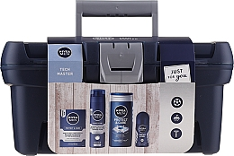 Kup Zestaw - Nivea Men Tech Master (af/sh/balm/100ml + foam/200ml + sh/gel/250ml + deo/50ml)