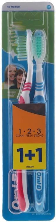 Zestaw szczoteczek do zębów, 40 średnia twardość, czerwona + niebieska - Oral-B 1 2 3 Natural Fresh 40 Medium — фото N1