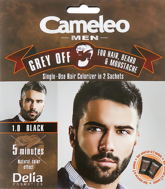 Jednorazowa farba do natychmiastowej koloryzacji siwych włosów, brody i wąsów - Delia Cameleo Men