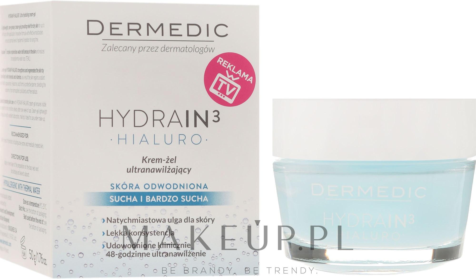 Ultranawilżający krem-żel do twarzy - Dermedic Hydrain3 Hialuro — фото 50 ml
