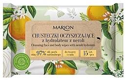 Kup Oczyszczające chusteczki do twarzy i ciała z hydrolatem z neroli, 15szt. - Marion
