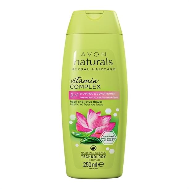 Witaminowy szampon i odżywka 2 w 1 Bazylia i kwiat lotosu - Avon Naturals Herbal Haircare Vitamin Complex — фото N1