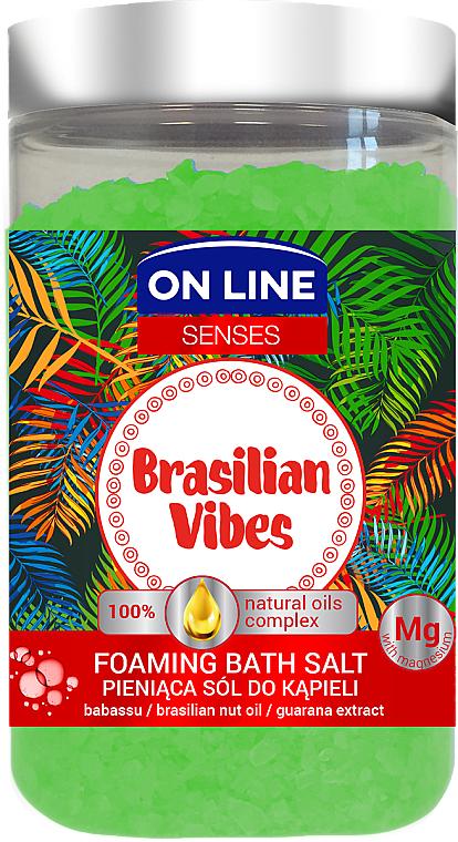 Pieniąca sól do kąpieli z olejem babassu i ekstraktem z guarany - On Line Senses Brasilian Vibes