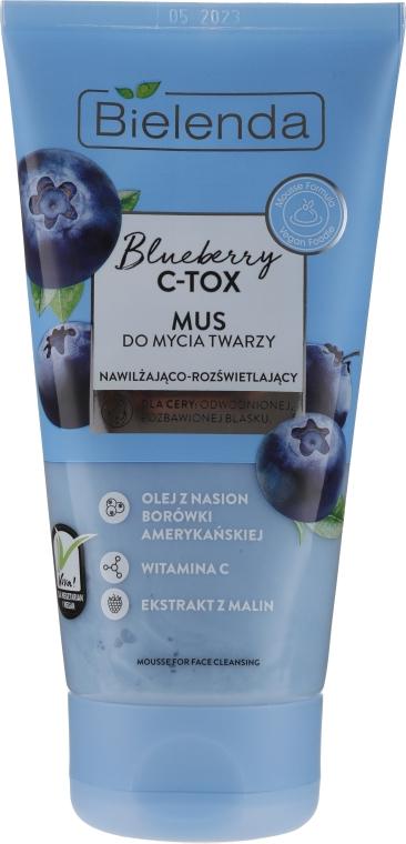 Nawilżająco-rozświetlający mus do mycia twarzy - Bielenda Blueberry C-Tox Face Mousse For Face Cleansing