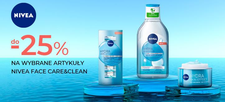 Rabaty do 25% na wybrane kosmetyki Nivea Face Care&Clean. Сeny uwzględniają zniżkę.