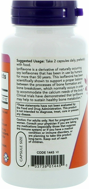 Ipriflawon w kapsułkach - Now Foods Ipriflavone Capsules — фото N3