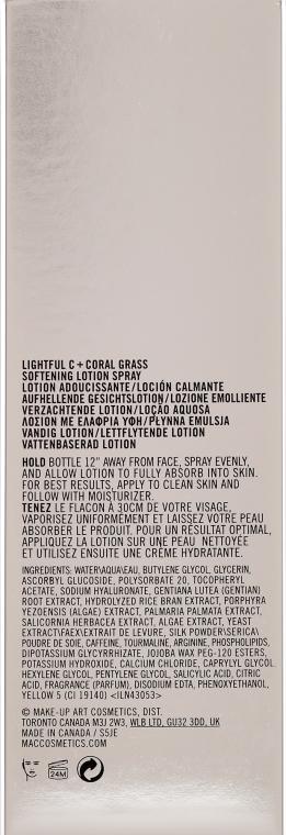 Nawilżająca emulsja do twarzy w sprayu - MAC Lightful C + Coral Grass Softening Lotion Spray — фото N3