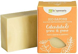 Kup Emolientowo-kojące mydło w kostce z oliwą Nagietek i kiełki pszenicy - La Saponaria Calendula & Wheat Germ Soap