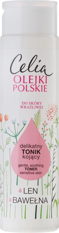 Delikatny tonik kojący do skóry wrażliwej Len i bawełna - Celia Olejki polskie