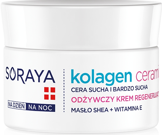 Odżywczy krem regenerujący do skóry suchej i bardzo suchej - Soraya Kolagen i ceramidy