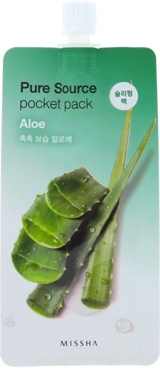 Nawilżająca maseczka na noc z ekstraktem z aloesu - Missha Pure Source Pocket Pack Aloe — фото N1