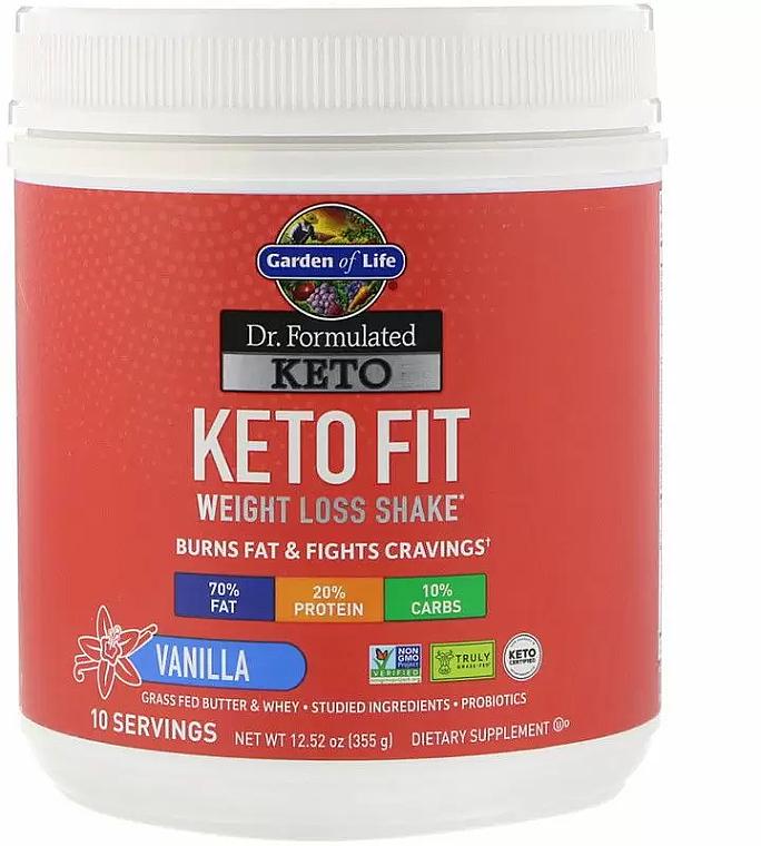 Koktajl wyszczuplający o smaku waniliowym w proszku - Garden of Life Dr. Formulated Keto Fit — фото N1
