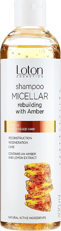 Odbudowujący szampon micelarny z bursztynem do włosów cienkich i zniszczonych - Loton