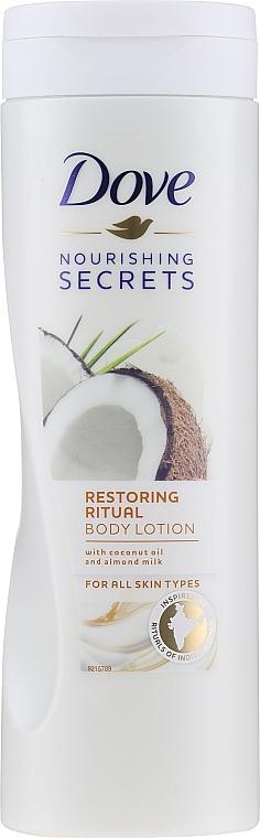 Nawilżający balsam do ciała Olej kokosowy i mleko migdałowe - Dove Nourishing Secrets Restoring Ritual Body Lotion