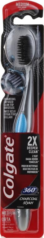 Szczoteczka do zębów, średnia twardość, czarno-niebieska - Colgate 360 Charcoal Infused Toothbrush Medium Bristles