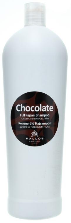 Czekoladowy szampon regenerujący do włosów suchych i łamliwych - Kallos Cosmetics Chocolate Full Repair Shampoo