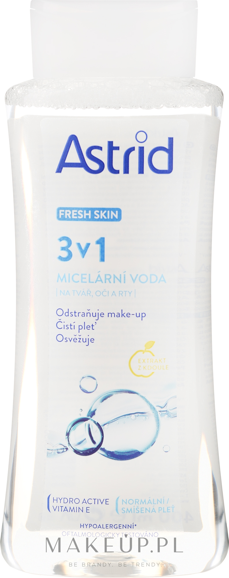 Odświeżająca woda micelarna do skóry normalnej i mieszanej - Astrid Fresh Skin 3in1 Micellar Water — фото 400 ml