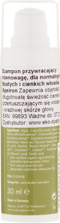 Nawilżający szampon - Apeiron Keshawa Balance Shampoo (miniprodukt) — фото N2