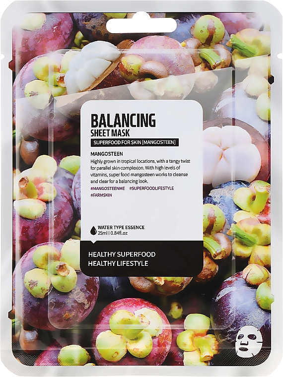Normalizująca maska do twarzy na tkaninie Mangostan - Superfood For Skin Balancing Sheet Mask