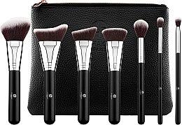 Zestaw pędzli do makijażu, 7 szt. z kosmetyczką - LP Makeup Set Of Seven Professional Brushes L'accessoire With Leather Bag — фото N2
