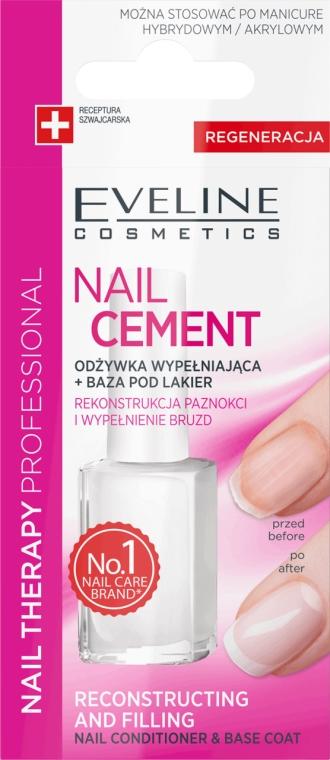 Odżywka wypełniająca + baza pod lakier do paznokci - Eveline Cosmetics Nail Cement Conditioner & Base Coat