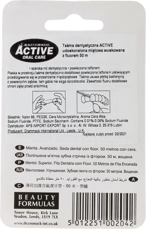 Miętowa szeroka taśma dentystyczna z fluorem, 50 m - Beauty Formulas Active Oral Care Mint Waxed Fluoride Dental Tape — фото N2