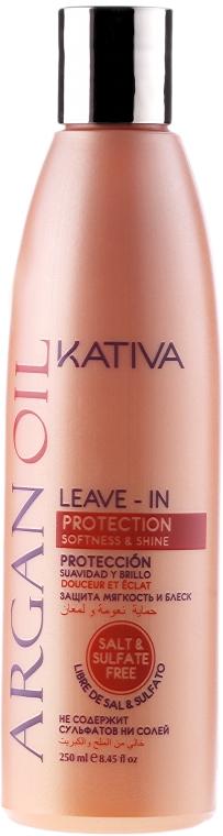Lekka odżywka bez spłukiwania Olej arganowy - Kativa Argan Oil Leave-In Protection Softness & Shine