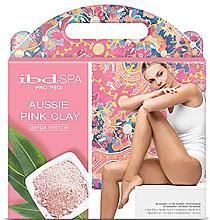 Kup PRZECENA! Zestaw do pedicure'u w 4 krokach - IBD Aussie Pink Clay Detox Intro Kit (soak/397g + scr/624g + mask/420ml + cr/420ml + cuticle/free/59ml + callus/free/118ml) *