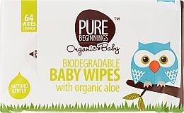 Kup Organiczne chusteczki nawilżane z aloesem dla niemowląt i dzieci, 64 szt. - Pure Beginnings Biodegradable Aloe Baby Wipes