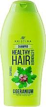 Kup Naturalny szampon wzmacniający do włosów Geranium - Hristina Cosmetics Healthy Hair & Stronger With Geranium Shampoo