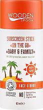 Kup PRZECENA! Przeciwsłoneczny sztyft do twarzy i ciała dla całej rodziny SPF 45+ - Wooden Spoon Sunscreen Stick On The Go SPF 45 *