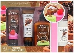 Kup Zestaw kosmetyków o zapachu ciastek i karmelu - Nature de Marseille Caramel (sh/gel 100 ml + cr 60 ml + balm 150 ml + soap 90 g)