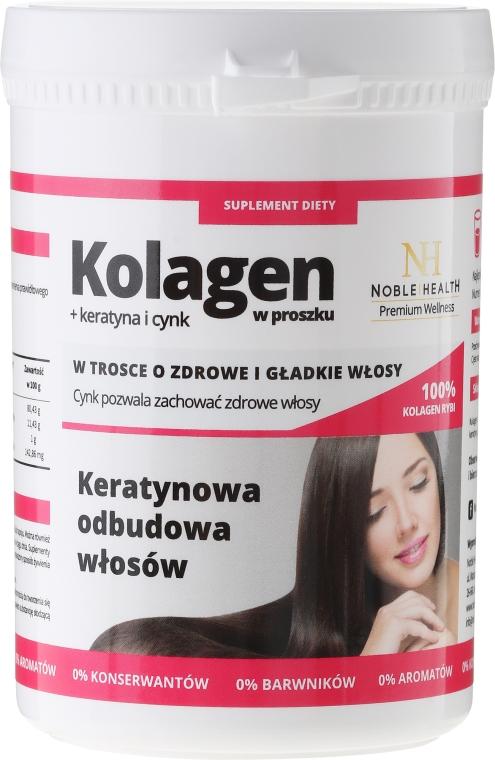 Kolagen + keratyna i cynk w proszku Keratynowa odbudowa włosów - Noble Health