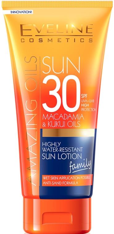 Wodoodporny balsam przeciwsłoneczny - Eveline Cosmetics Amazing Oils Highly Water-Resistant Sun Lotion SPF 30 — фото N1