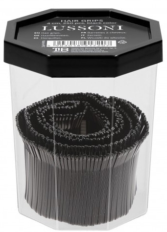 Wsuwki, 4 cm, czarne - Lussoni Hair Grips Black — фото N2