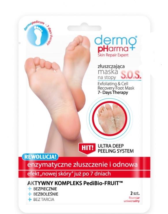Złuszczająca maska na stopy SOS Enzymatyczne złuszczenie i odnowa - Dermo Pharma