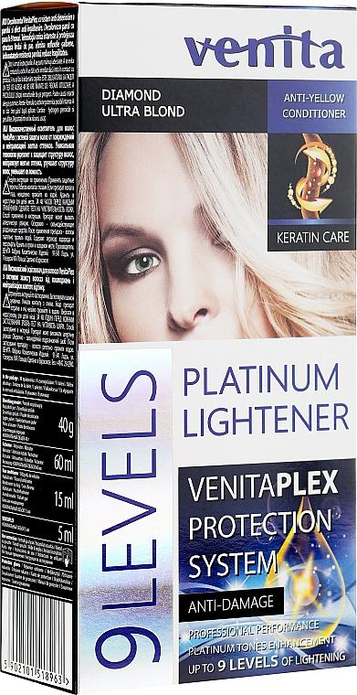 Rozjaśniacz do włosów o 9 tonów - Venita Plex Platinum Lightener