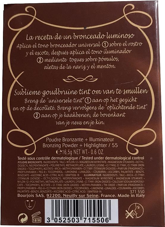 Puder do twarzy (w kompakcie) - Bourjois Delice De Poudre Bronzing Duo Powder + Highlighter — фото N4