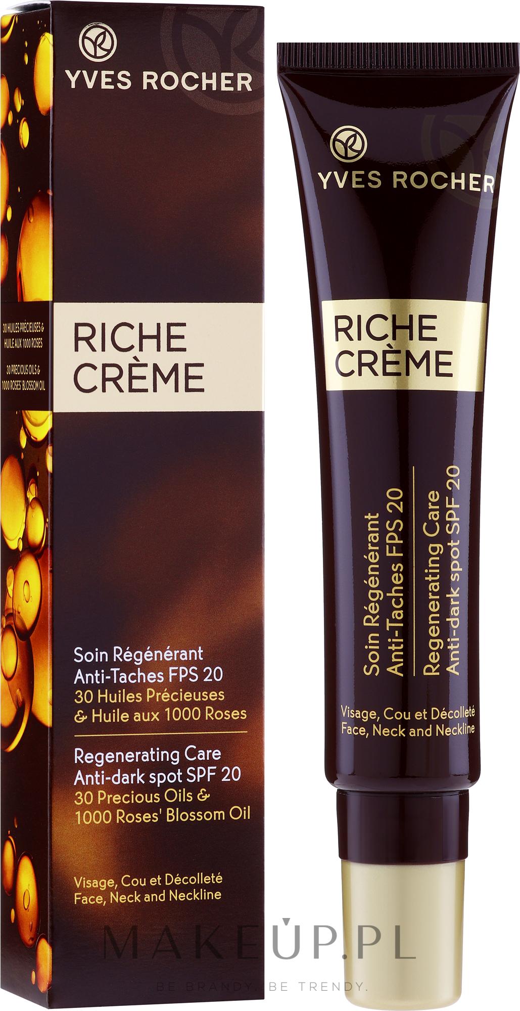PRZECENA! Przeciwzmarszczkowy krem regenerujący pod oczy - Yves Rocher Riche Creme Anti-Taches SPF20 * — фото 40 ml