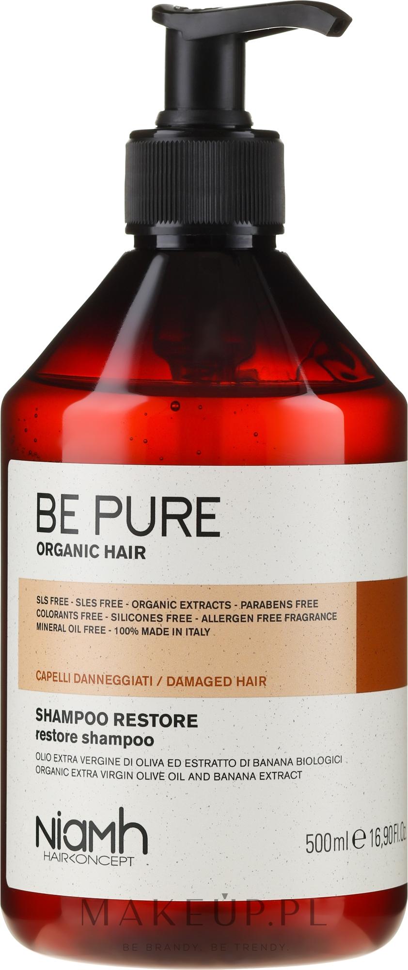 Rewitalizujący szampon do włosów zniszczonych - Niamh Hairconcept Be Pure Restore Shampoo — фото 500 ml