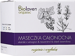 Kup Rozjaśniająco-wygładzająca maseczka całonocna z ekstraktem z winogron - Biolaven