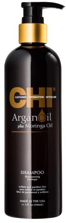 Szampon odbudowujący włosy z olejem arganowym - CHI Argan Oil Plus Moringa Oil Shampoo