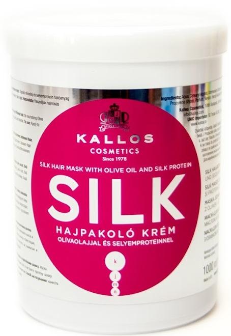 Maska w kremie z wyciągiem oleju oliwkowego i białka jedwabiu do suchych i martwych włosów - Kallos Cosmetics Silk Hair Mask