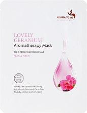 Kup Odżywcza maska na tkaninie do twarzy Delikatne geranium - Aroma Yong Aromatherapy Mask Lovely Geranium