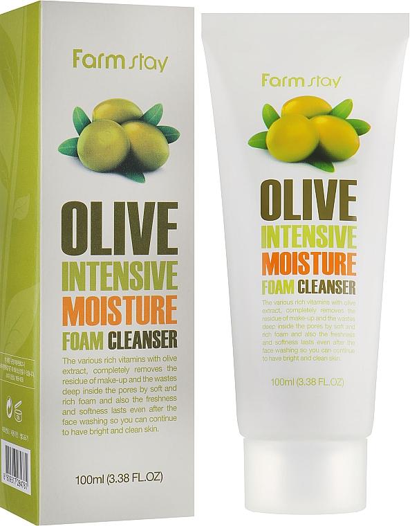 Nawilżająca pianka oczyszczająca do twarzy - FarmStay Olive Intensive Moisture Foam Cleanser