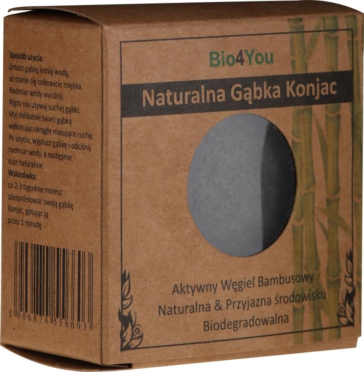 Naturalna gąbka konjac do mycia twarzy z aktywnym węglem - Bio4You