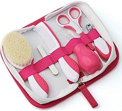 Kup Zestaw do pielęgnacji dziecka, biało-różowy - Nuvita (h/brush + h/comb + 5 x n/file + scissors + pliers + nasal pear)